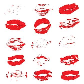 Pocałunek szminki drukuje na białym tle. ilustracja wektorowa.