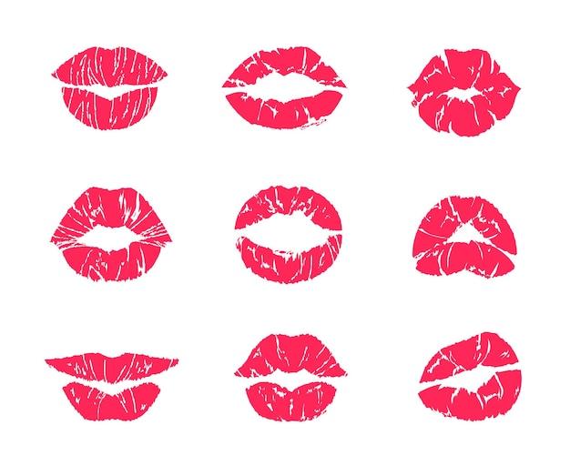 Pocałunek szminki. kobiece usta makijaż, usta kobiety czerwony nadruk grunge na białym tle, zestaw symboli romansu