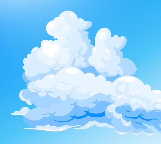 Pochmurne niebo na niebieskim tle