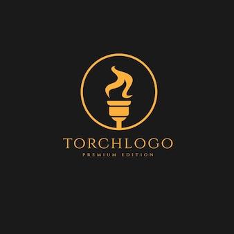Pochodnia minimalistyczny projekt logo szablon ilustracji prosta koncepcja logo sportowego premium