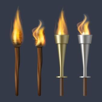 Pochodnia ognia. realistyczne pochodnie płomieni olimpijskie ilustracje wektorowe ognisko. pochodnia płomień ognia, realistyczna kolekcja flary. świecący i jasny płomień projektowy