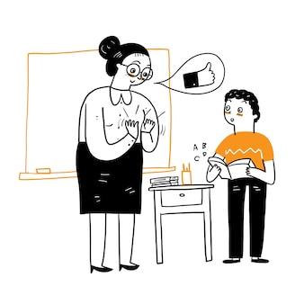Pochwała nauczyciela dla ucznia z oklaskami za czynienie dobra, styl gryzmoły kreskówki ilustracji wektorowych