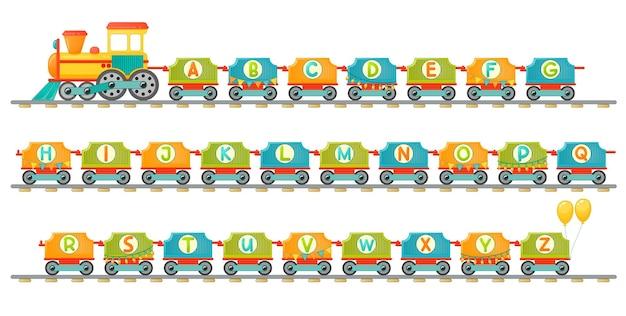 Pociąg alfabet dla dziecka w stylu cartoon. tylko wielkie litery. wektor litery abc dla edukacji dzieci w szkole, przedszkolu i przedszkolu.