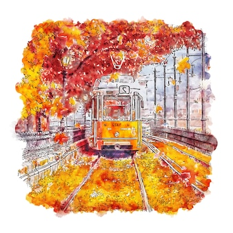 Pociąg budapeszt węgry szkic akwarela ręcznie rysowane ilustracja