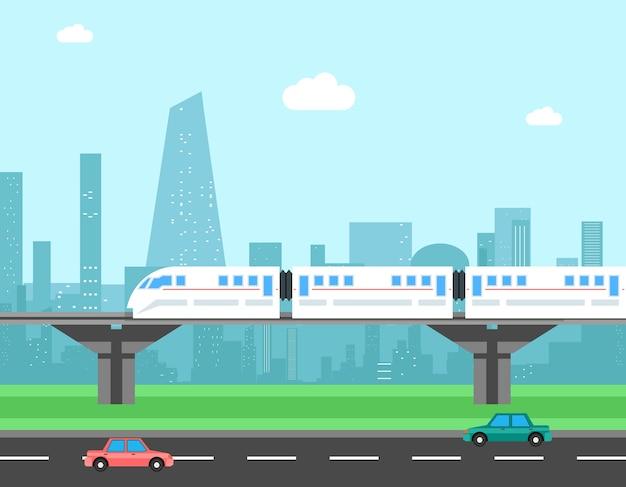 Pociąg i pejzaż miejski. koncepcja wektor transportu. transport miejski, kolejowy i drogowy