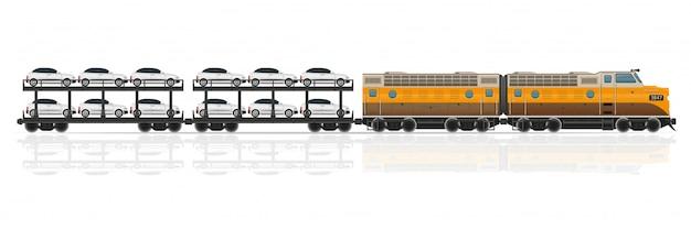 Pociąg kolejowy z ilustracji wektorowych lokomotyw i wagonów