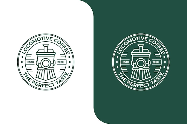 Pociąg lokomotywa kawa monoline logo