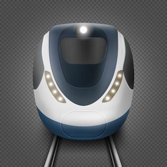 Pociąg lub metro, widok z przodu, lokomotywa metra