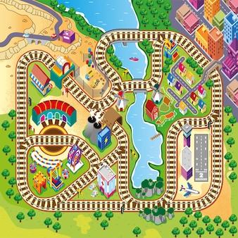 Pociąg mapy torów kolejowych z pięknym krajobrazem miasta i farmy dla maty do zabawy dla dzieci i maty rolkowej