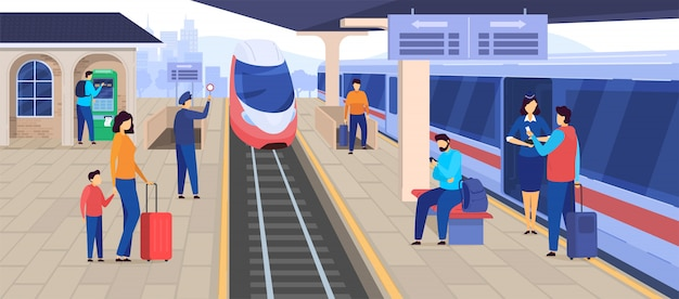 Pociąg przyjeżdża na stacji kolejowej, ludzie czekają na platformie, pasażerski postać z kreskówki, ilustracja