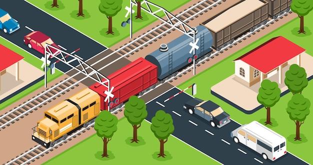 Pociąg towarowy na ilustracji przejazdu kolejowego