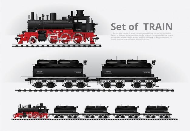 Pociąg towarowy na szablonie drogi kolejowej