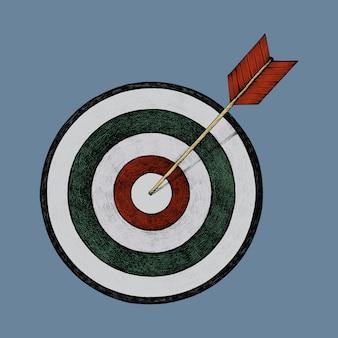 Pociągany ręcznie dartboard i strzała ilustracja