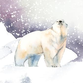 Pociągany ręcznie niedźwiedź polarny w śnieżnym akwarela stylu wektorze