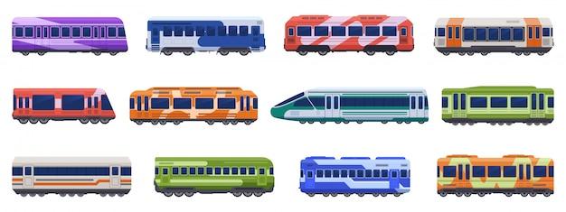 Pociągi pasażerskie metra. pociągi dużych prędkości, metro, transport podziemny. zestaw ikon ilustracji pojazdów transportu pasażerskiego. publiczna furgonetka metra, tramwaj metra, miejska kolej elektryczna