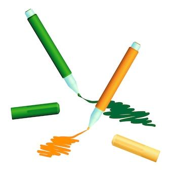 Pociągnięcia malowane kolorowymi markerami flamastry cienkopisowe z okładkami. rysik do szkicowania flow z własnym źródłem atramentu i końcówką, kolor zielony i pomarańczowy,