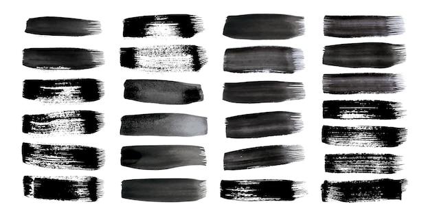 Pociągnięcia pędzlem czarny grunge. duży zestaw pasków pomalowanych tuszem. miejsce atramentu na białym tle. ilustracja wektorowa