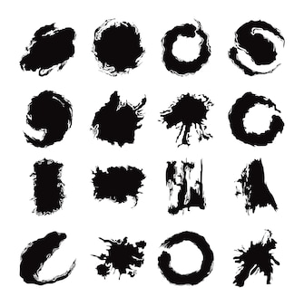 Pociągnięcia pędzlem czarnym tuszem kreatywnych streszczenie zestaw ikon