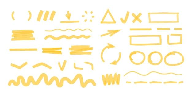 Pociągnięcia zakreślaczem. marker kropkowany kształtuje okrągłe i kwadratowe ramki do tytułów wiadomości, podkreśla rysowanie wektorowe. znacznik bazgrołów, rysunek obrysu kształtu i szkicowa ilustracja