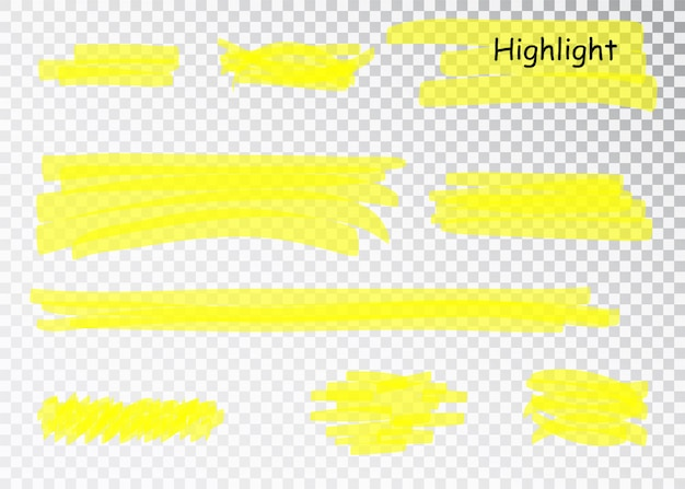 Pociągnięcia znacznika żółtego zakreślacza. pióro pędzla podkreśla linie. zestaw podświetlany ręcznie rysowane akwarela żółty.