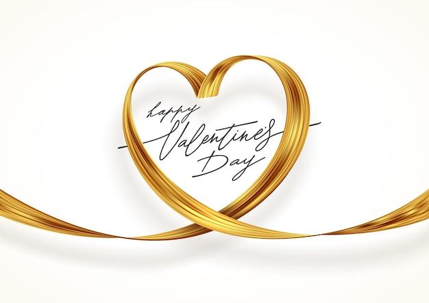 Pociągnięcie pędzlem w kształcie serca. walentynki pozdrowienia ze złotą wstążką. symbol miłości.