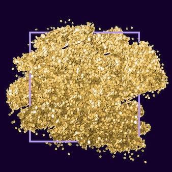 Pociągnięcie pędzlem ze złotej folii brokatowej. plama ze złotej folii.