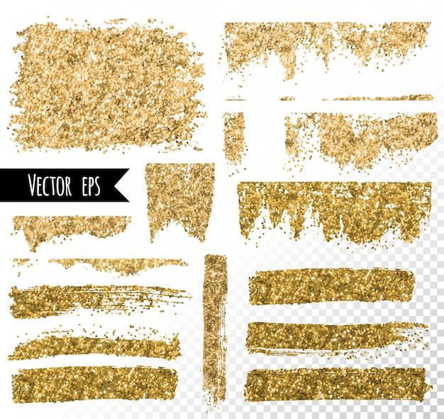 Pociągnięcie pędzlem złotego brokatu. plama ze złotej folii.