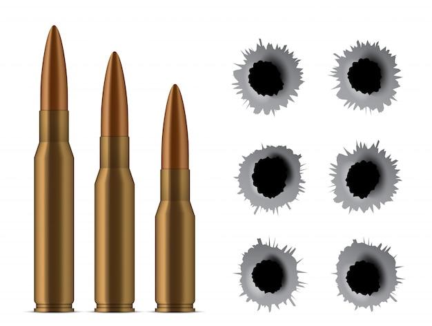 Pociski z pistoletu, dziury, strzały, broń kalibru.