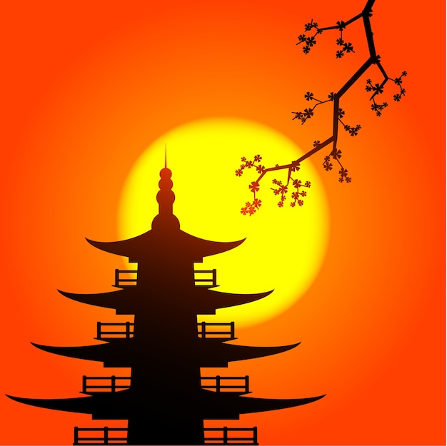 Pocture sylwetki pagody i skura z wschodzącym słońcem na tle