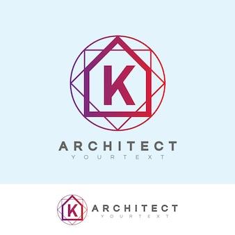 Początek architekta litera k projekt logo
