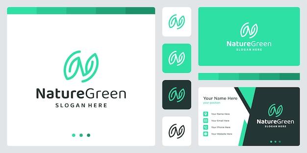 Początkowa inspiracja w kształcie litery n z logo liścia. projekt szablonu wizytówki