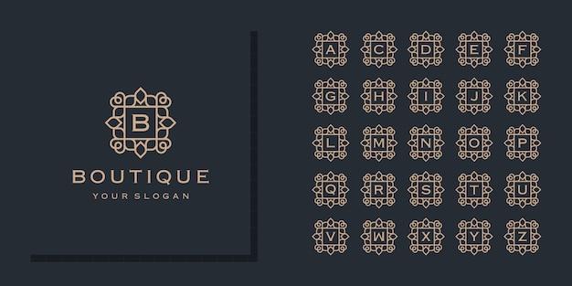 Początkowa kolekcja liter alfabetu z szablonem logo ramki ozdobnych kwiatów