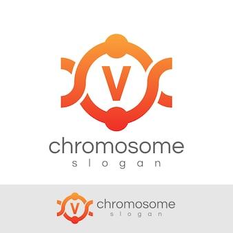 Początkowa konstrukcja chromosomu litera v. logo
