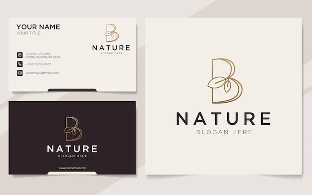 Początkowa litera b z logo elementu liścia i szablonem wizytówki