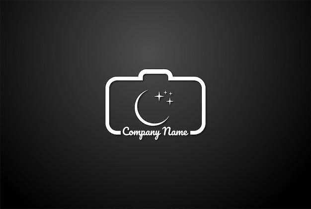 Początkowa litera c crescent moon light lens fotografia fotografia logo design vector