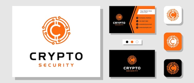 Początkowa litera c crypto coin digital currency circle design logo z szablonem układu wizytówka