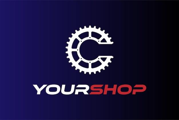 Początkowa litera c dla koła zębatego koła zębatego lub roweru sport club logo design vector
