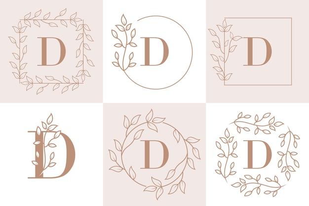 Początkowa litera d szablon kwiatowy ramki