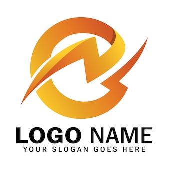 Początkowa litera e logo grzmotu