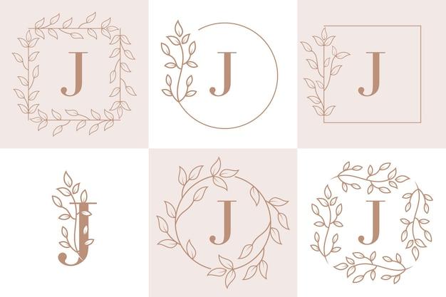 Początkowa litera j szablon kwiatowy ramki