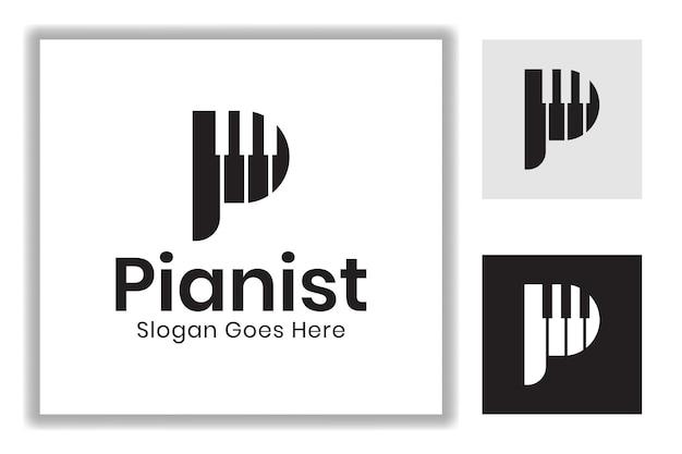 Początkowa litera p z projektem symbolu gry na fortepianie dla szablonu logo pianisty fortepianowego