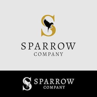 Początkowa litera s latający ptak wróbel wektor projektowanie logo