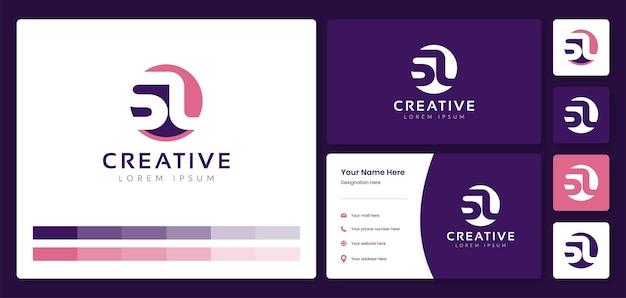 Początkowa litera sl kreatywne logo alfabetu monogram z szablonem tożsamości wizytówki