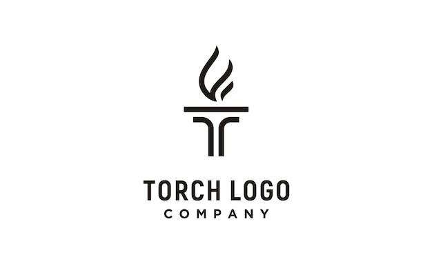 Początkowa litera t dla logo pochodni