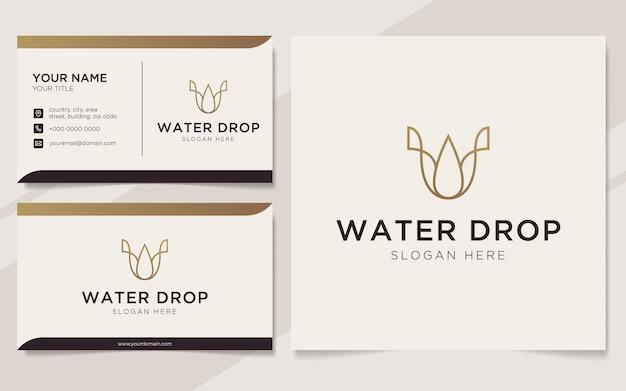 Początkowa litera u z logo elementu kropli wody i szablonem wizytówki