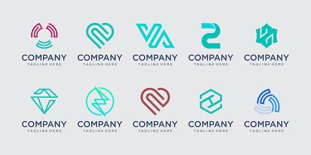 Początkowa litera z zestaw ikon logo projekt dla biznesu technologii mody sportowej