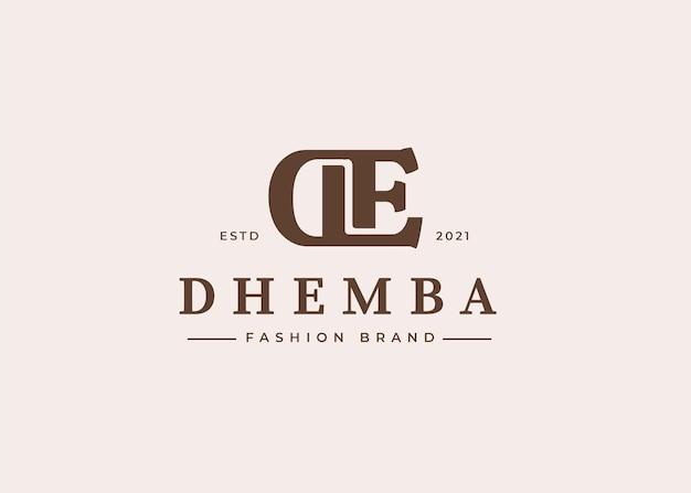 Początkowe ilustracje szablonu projektu logo litery de