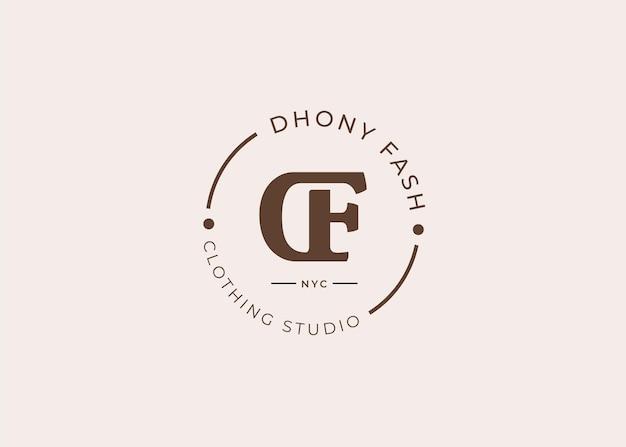 Początkowe ilustracje szablonu projektu logo litery df