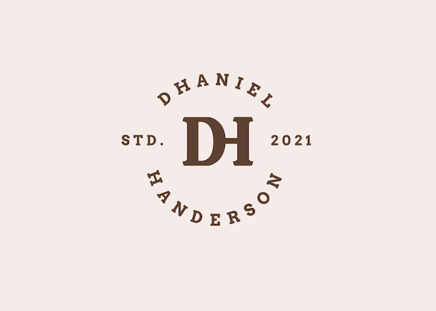 Początkowe ilustracje szablonu projektu logo litery dh