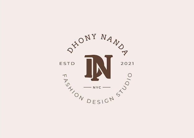 Początkowe ilustracje szablonu projektu logo litery dn